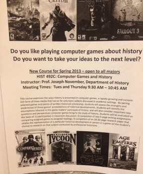 "The flyer for ""Computer Games and History"" at the University of South Carolina."