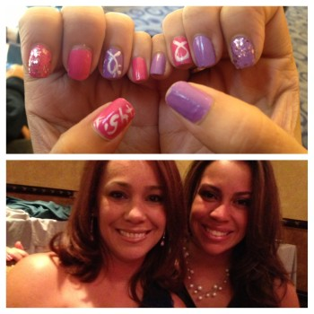 Top: Nayadira Pacheco's nails, showing her support for breast cancer; Bottom: Pacheco with her mother. Photo Credit: Dominique Vinas
