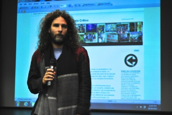 Orlando Luis Pardo Lazo speaking in Kean University's Little Theatre Photo Credit: Christine Moukazis