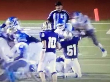 Referee Robert Watts was blindsided by two John Jay High School football players, after Watts was accused of using racial slurs