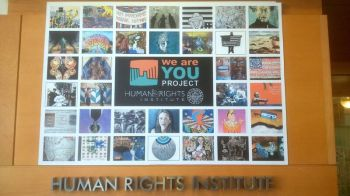 "The ""We Are you Project"" poster at the Human Right Institute Lobby."
