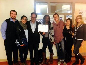 Tchividjian with members of  Kean PRSSA and PRSSA             faculty adviser Prof. Sullivan.