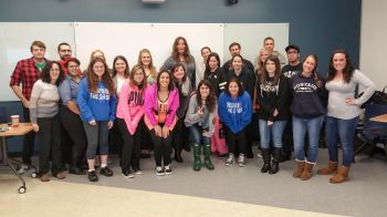 Transgender guest speaker Dr. Geena Buono talks about her transition in Professor Atkins' Gender & Language Communication class at the Kean Ocean County College (OCC) campus. Photos: Tommy Sisbarro