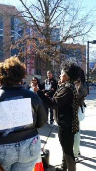 Kayla-Simone McKelvey at a previous protest in March. (Credit: Rebecca Panico)