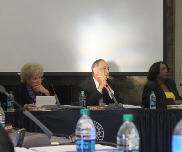 Kean University President Dawood Farahi, center, sits with Board of Trustees members Ada Morell, left, and Linda Lewis at the Trustees meeting on March 7. Credit: Rebecca Panico