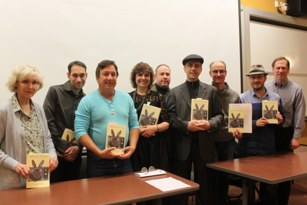 "Nine poets read their poems and others from the anthology titled, ""Rabbit Ears: TV Poems,"" on April 7, 2016. From the left to right, the poets are Diane Lockward, Josh Humphrey, David Messineo, Susanna Rich, John J. Trause, Joel Allegretti, George Witte, Charlie Bondhus and David Vincenti."