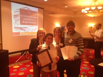 From left are Tower adviser Pat Winters Lauro, Panico, adviser Lois DeSocio and Yuri at the NJCPA awards ceremony. April 7, 2016. Credit: The Tower