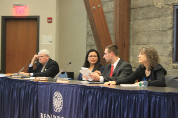 Emily Filardo, a Kean Faculty Senate representative to the board sits to the far right. Board of Trustees Student Representative Alternate Christian Meyers, second from right  sits next to student representative Abbey Gallego. May 9, 2016. Credit: Rebecca Panico